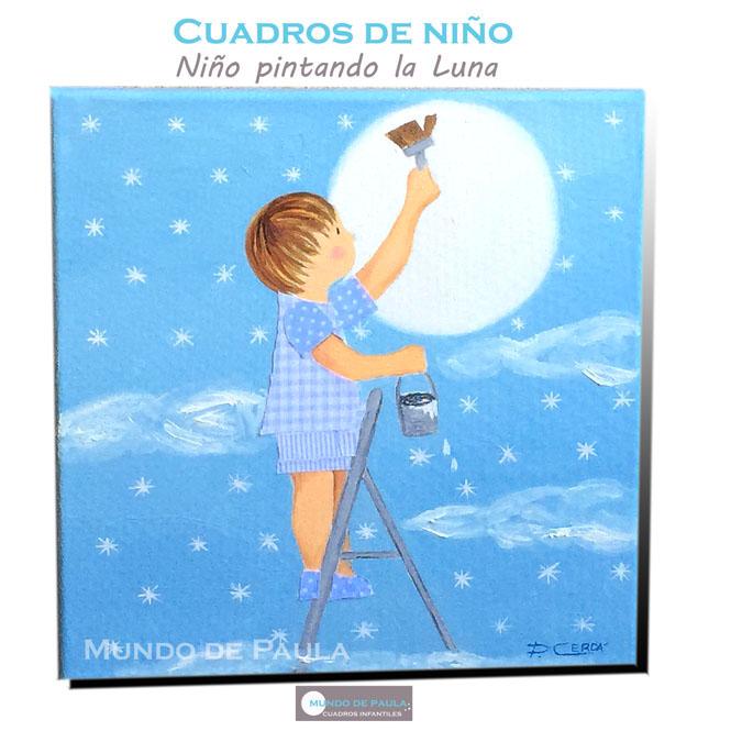 Niño pinando la Luna